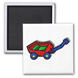 little red wagon square magnet
