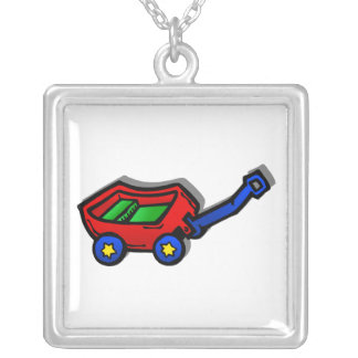little red wagon square pendant necklace