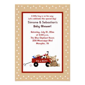 Little Red Wagon Teddy Bear 5x7 Invite 2-sided