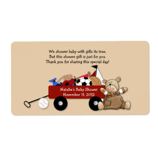 Little Red Wagon Teddy Bear Label Sticker - Large Shipping Label