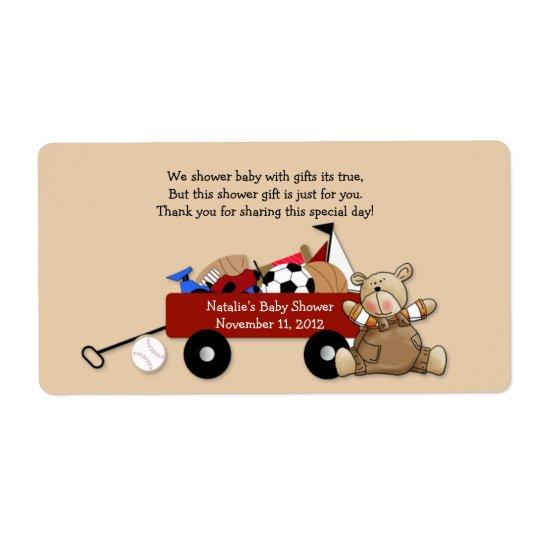 Little Red Wagon Teddy Bear Label Sticker - Large