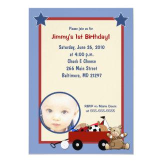 Little Red Wagon Teddy Bear Photo Invitation