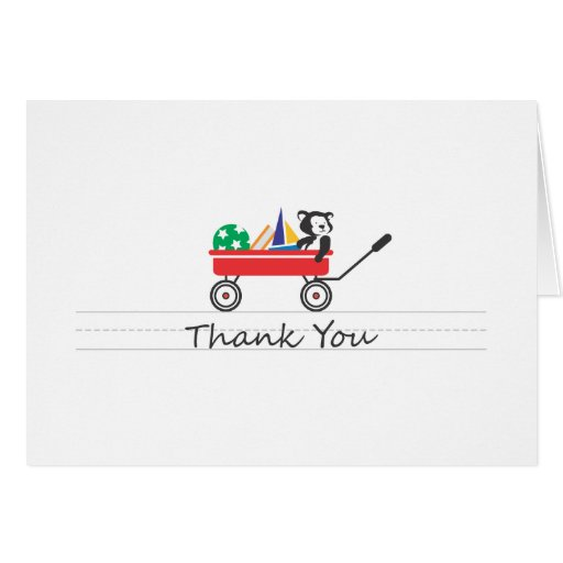 Little Red Wagon Thank You Card