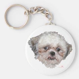 Little Rescued Shih Tzu Head Study Basic Round Button Key Ring