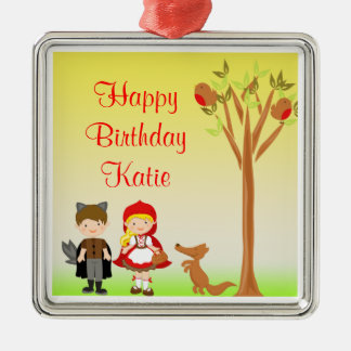 Little Riding Hood Birthday Celebration Silver-Colored Square Decoration