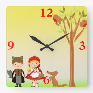 Little Riding Hood Birthday Celebration Square Wall Clock