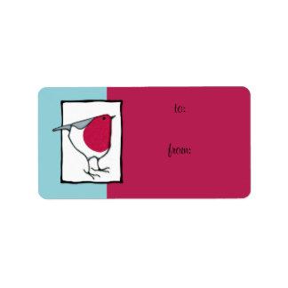 Little Robin Gift Tag Label Address Label
