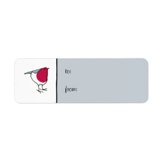 Little Robin grey small Gift Tag Label Return Address Label