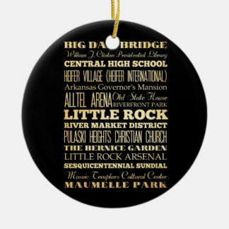 Little Rock City of Arkansas State Typography Art Ceramic Ornament