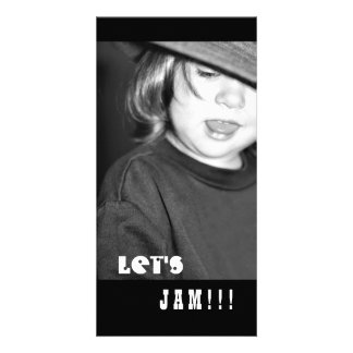 Little Rocker, Let's Jam, Black and White Card Customized Photo Card