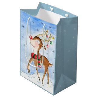 Little Rudolph watercolor Medium Gift Bag