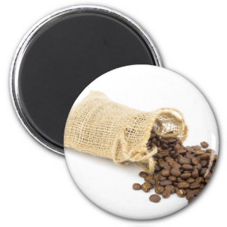 Little sackcloth with coffee beans 6 cm round magnet