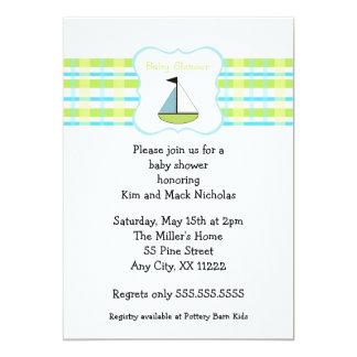 Little Sail Boat Green Blue Baby Shower 13 Cm X 18 Cm Invitation Card