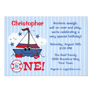 Little Sailboat 1st Birthday 13 Cm X 18 Cm Invitation Card