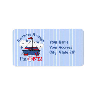 Little Sailboat 1st Birthday Address Label