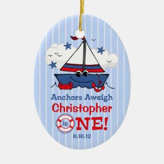 Little Sailboat 1st Birthday Christmas Tree Ornaments