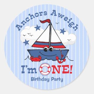 Little Sailboat 1st Birthday Round Sticker