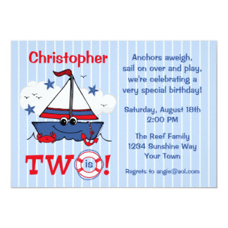 Little Sailboat 2nd Birthday 13 Cm X 18 Cm Invitation Card