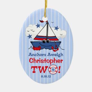 Little Sailboat 2nd Birthday Christmas Tree Ornament