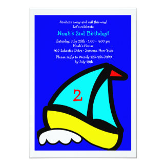 Little Sailboat Birthday Party Invitation