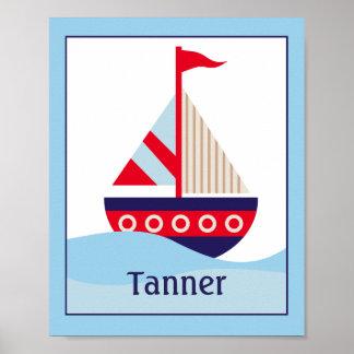 Little Sailboat Customized Nursery Art Print