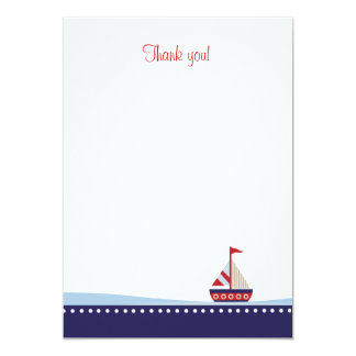 Little Sailboat Flat Thank You note 13 Cm X 18 Cm Invitation Card