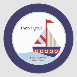Little Sailboat Navy Boat Baby Shower Favor Round Sticker