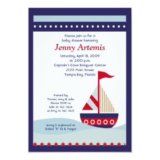 Little Sailboat Navy Boat Nautical Baby Shower 5x7 Card