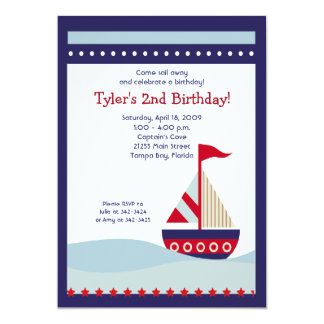 Little Sailboat Navy Boat Nautical Birthday 5x7 13 Cm X 18 Cm Invitation Card