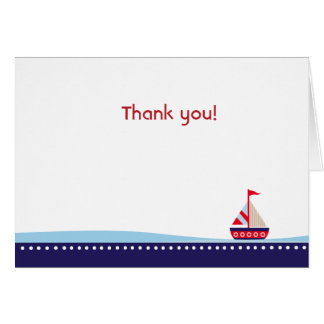Little sailboat Navy Folded Thank you note Note Card