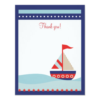 Little Sailboat Navy Naut 4x5 Flat Thank you note 4.25x5.5 Paper Invitation Card