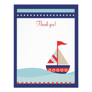 Little Sailboat Navy Naut 4x5 Flat Thank you note Personalized Invites