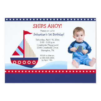 Little Sailboat Navy *PHOTO* Birthday 5x7 13 Cm X 18 Cm Invitation Card