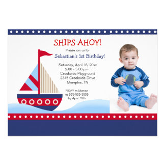 Little Sailboat Navy PHOTO Birthday 5x7 Personalized Announcements