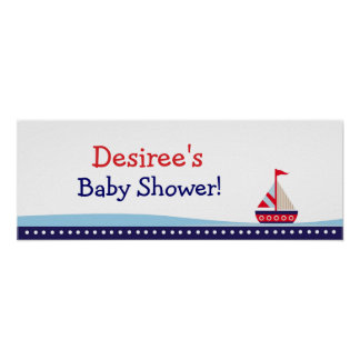 Little Sailboat Personalized Baby Shower Banner Poster