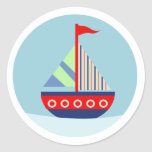 Little Sailboat Sail Away with me Envelope Seals Round Sticker