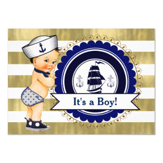 Little Sailor Boy Nautical Baby Shower 11 Cm X 16 Cm Invitation Card