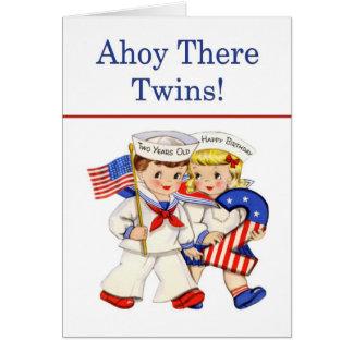Little Sailor Twins 2 year old birthday card