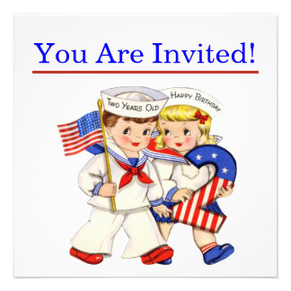 Little Sailor Twins 2nd birthday party invitiation Custom Announcement