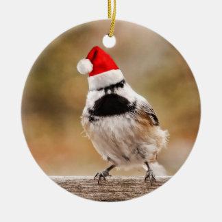 Little Santa Chickadee Ceramic Ornament