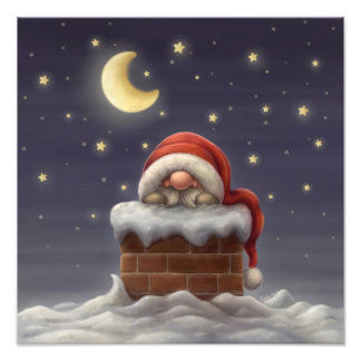 Little Santa in a chimney Photographic Print
