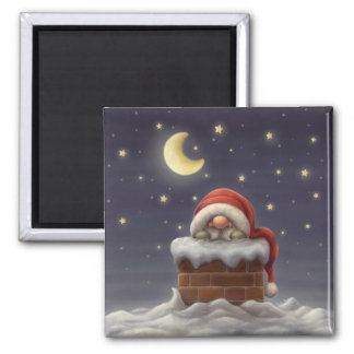 Little Santa in a chimney Square Magnet