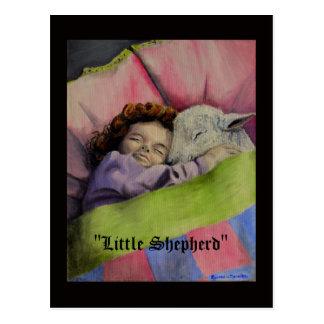 """""""Little Shepherd"""" Lamb of God with girl sleeps Postcard"""