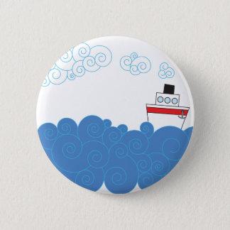 Little ship on sea 6 cm round badge