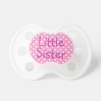 Little Sister and White Polka Dot Pacifiers