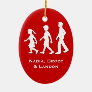 Little Sister, Big Brothers: Silhouette Siblings Ceramic Oval Decoration