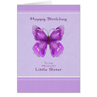 Little Sister Birthday Card - Purple Butterfly