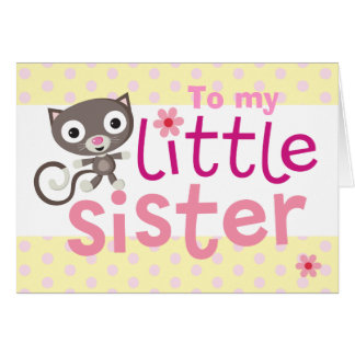 little sister cat greeting card