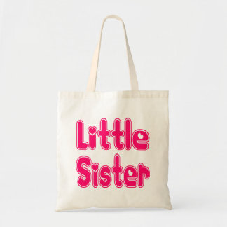 LITTLE SISTER Cute Sibling Pink Word Text Tote Bag
