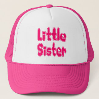 LITTLE SISTER Cute Sibling Pink Word Text Trucker Hat